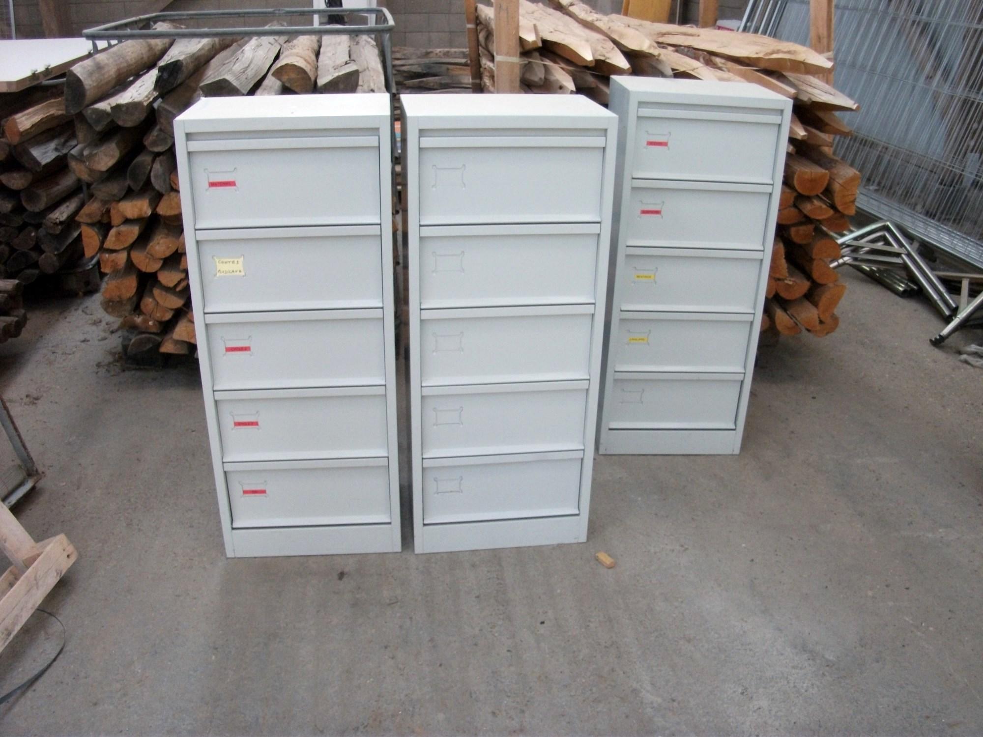 lot de 3 meubles clapets 5 cases gris rangement d. Black Bedroom Furniture Sets. Home Design Ideas