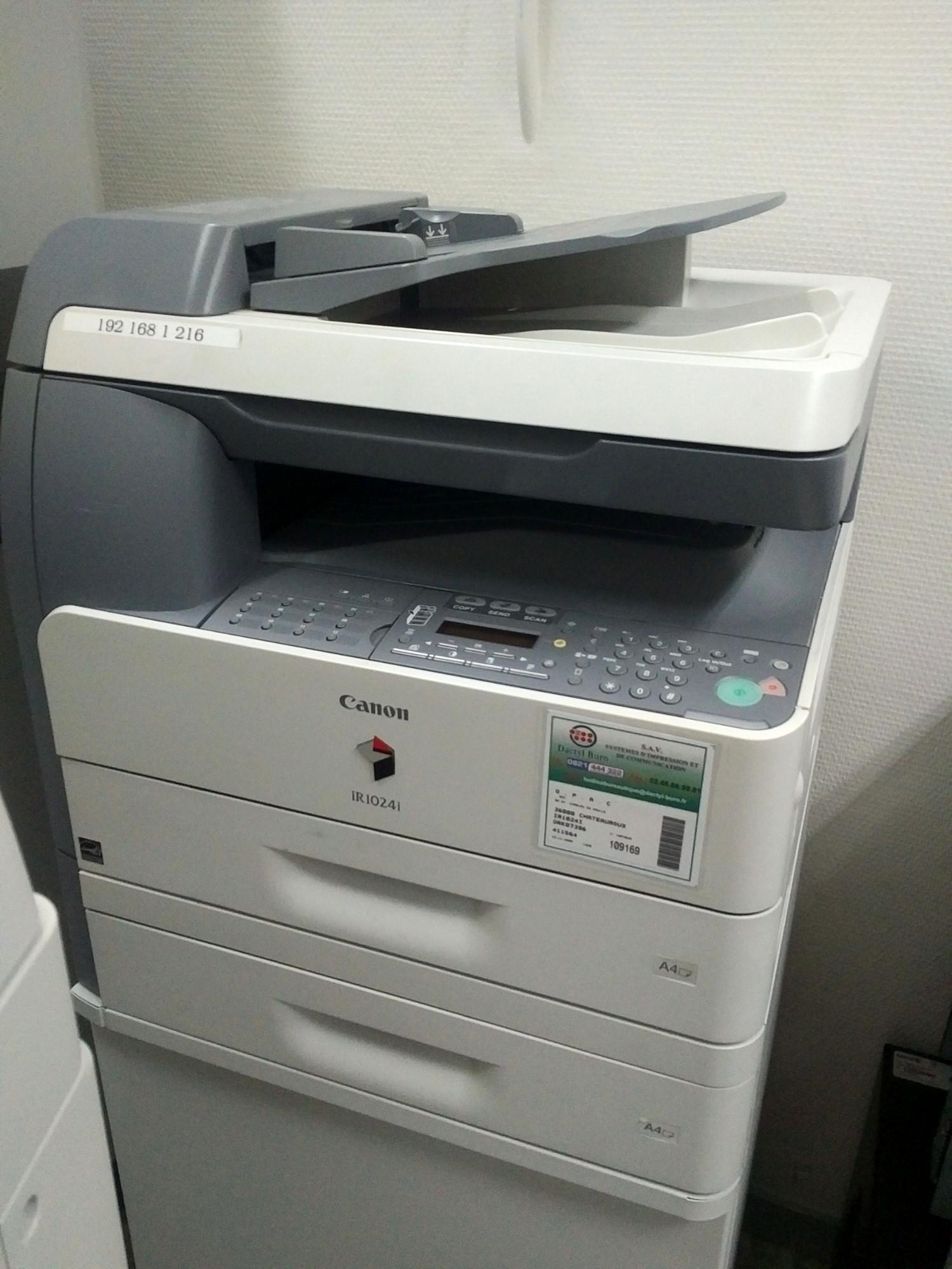 photocopieur canon ir1024i noir et blanc laser avec meuble roulette copieur imprimante d. Black Bedroom Furniture Sets. Home Design Ideas