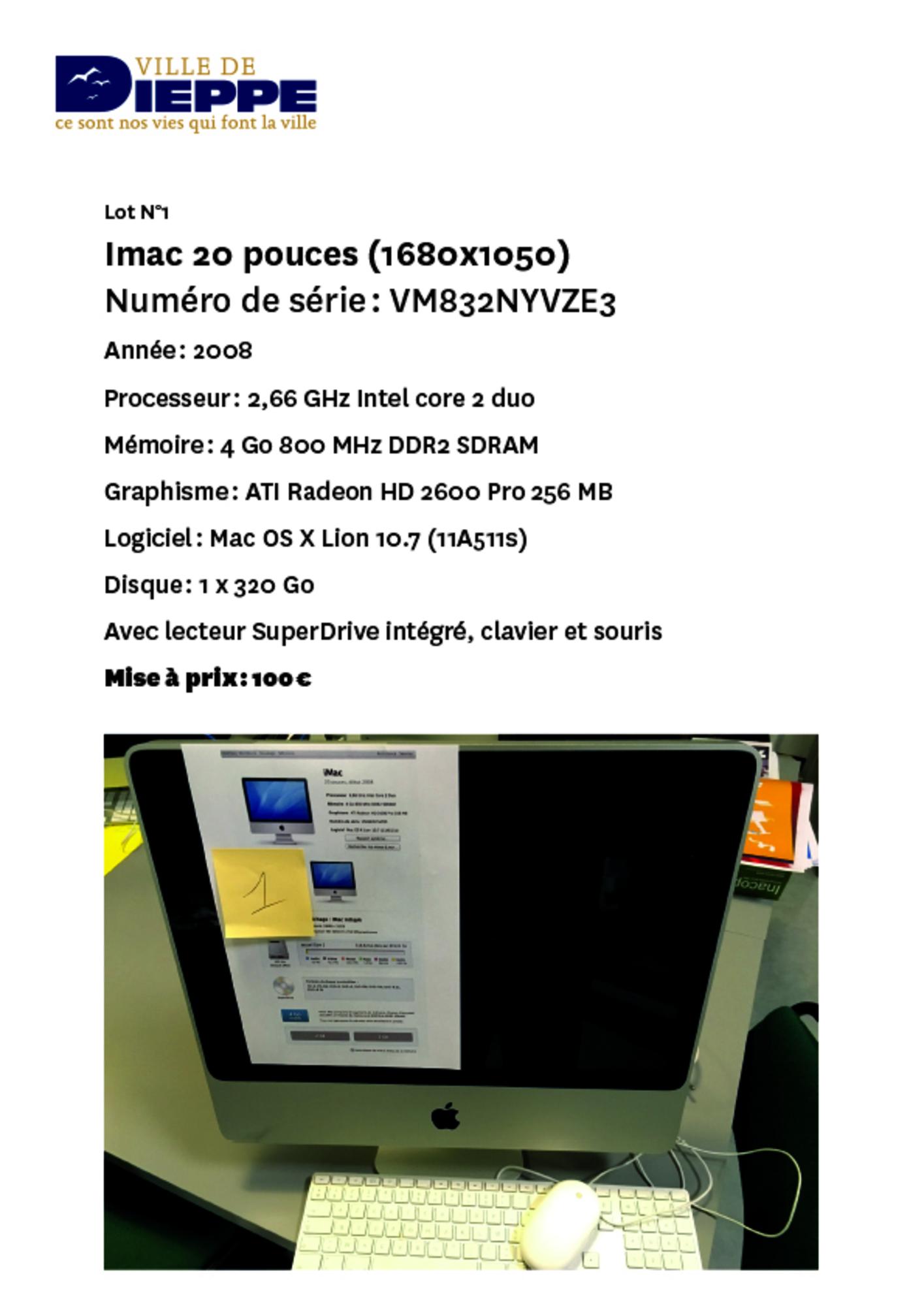 lot 1 imac 20 pouces 1650x1050 ordinateur ecran d. Black Bedroom Furniture Sets. Home Design Ideas